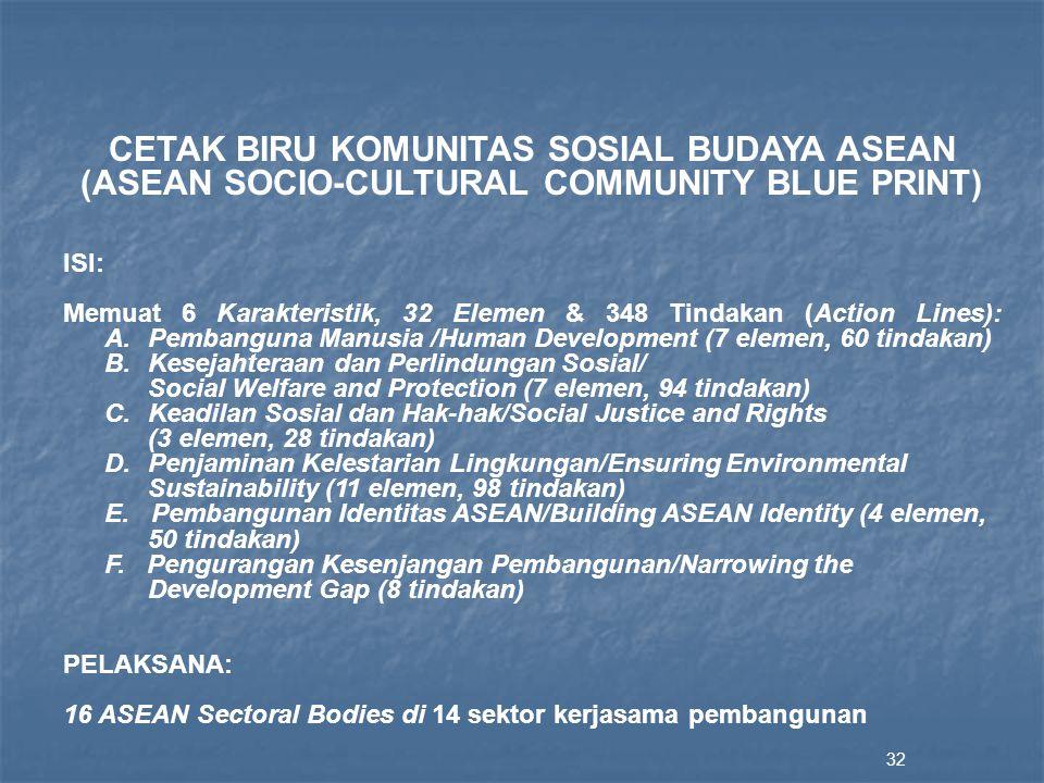 32 CETAK BIRU KOMUNITAS SOSIAL BUDAYA ASEAN (ASEAN SOCIO-CULTURAL COMMUNITY BLUE PRINT) ISI: Memuat 6 Karakteristik, 32 Elemen & 348 Tindakan (Action Lines): A.Pembanguna Manusia /Human Development (7 elemen, 60 tindakan) B.Kesejahteraan dan Perlindungan Sosial/ Social Welfare and Protection (7 elemen, 94 tindakan) C.Keadilan Sosial dan Hak-hak/Social Justice and Rights (3 elemen, 28 tindakan) D.Penjaminan Kelestarian Lingkungan/Ensuring Environmental Sustainability (11 elemen, 98 tindakan) E.