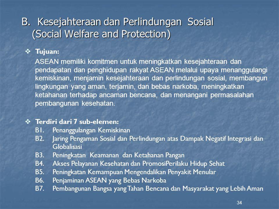 B. Kesejahteraan dan Perlindungan Sosial (Social Welfare and Protection) 34  Tujuan: ASEAN memiliki komitmen untuk meningkatkan kesejahteraan dan pen