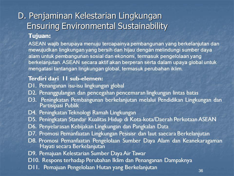 D. Penjaminan Kelestarian Lingkungan Ensuring Environmental Sustainability 36 Tujuan: ASEAN wajib berupaya menuju tercapainya pembangunan yang berkela