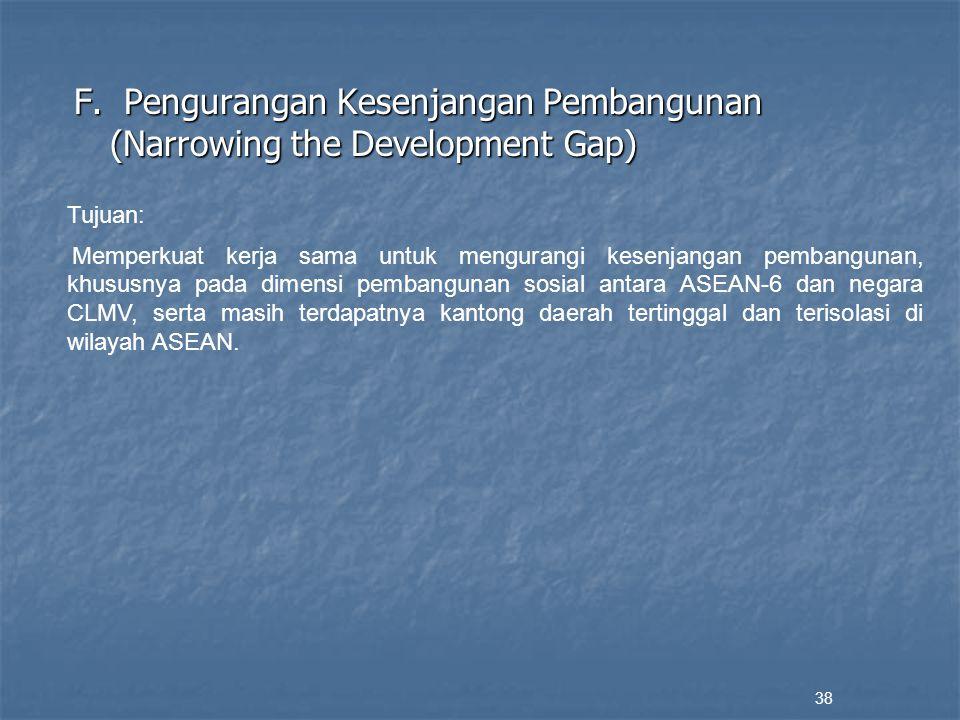 F. Pengurangan Kesenjangan Pembangunan (Narrowing the Development Gap) 38 Tujuan: Memperkuat kerja sama untuk mengurangi kesenjangan pembangunan, khus