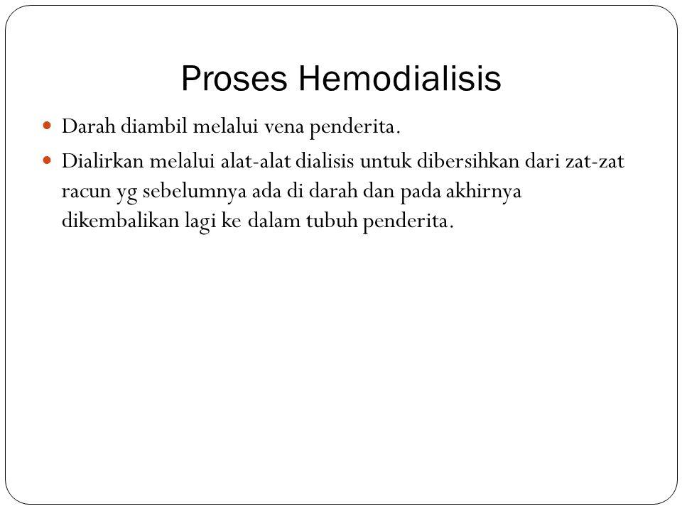 Proses Hemodialisis Darah diambil melalui vena penderita. Dialirkan melalui alat-alat dialisis untuk dibersihkan dari zat-zat racun yg sebelumnya ada