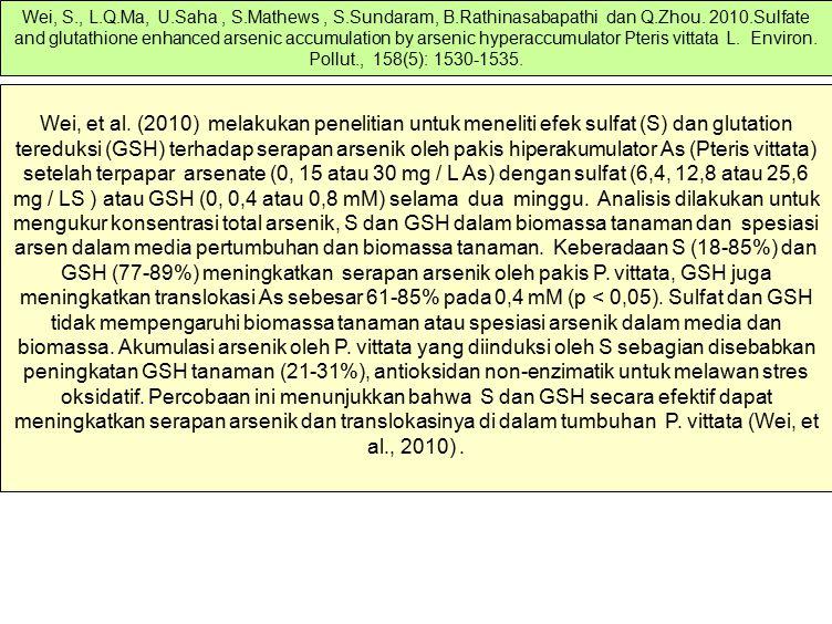 Wei, et al. (2010) melakukan penelitian untuk meneliti efek sulfat (S) dan glutation tereduksi (GSH) terhadap serapan arsenik oleh pakis hiperakumulat