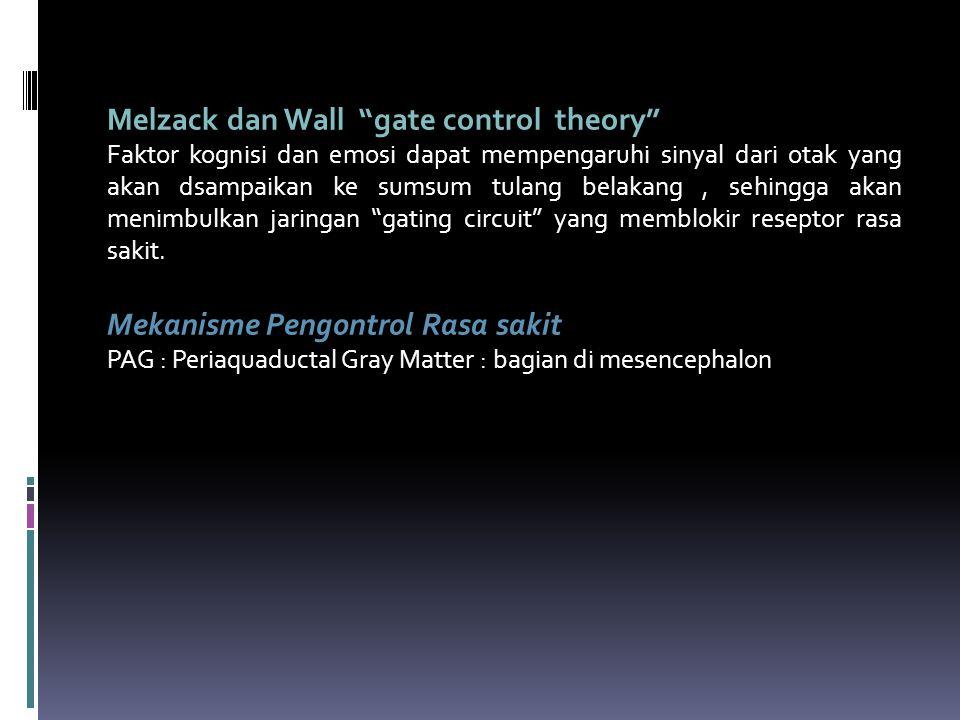 """Melzack dan Wall """"gate control theory"""" Faktor kognisi dan emosi dapat mempengaruhi sinyal dari otak yang akan dsampaikan ke sumsum tulang belakang, se"""