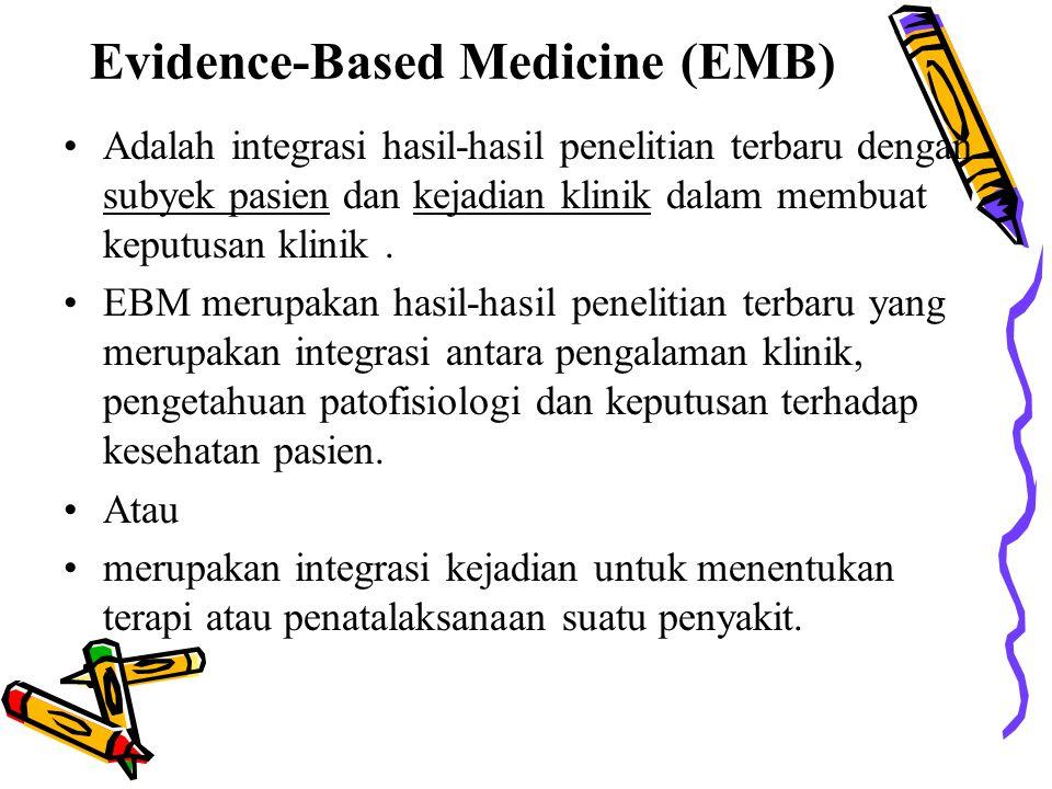 Adalah integrasi hasil-hasil penelitian terbaru dengan subyek pasien dan kejadian klinik dalam membuat keputusan klinik. EBM merupakan hasil-hasil pen
