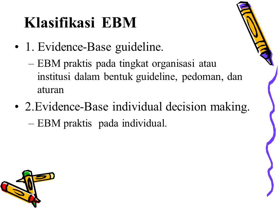 Klasifikasi EBM 1. Evidence-Base guideline. –EBM praktis pada tingkat organisasi atau institusi dalam bentuk guideline, pedoman, dan aturan 2.Evidence