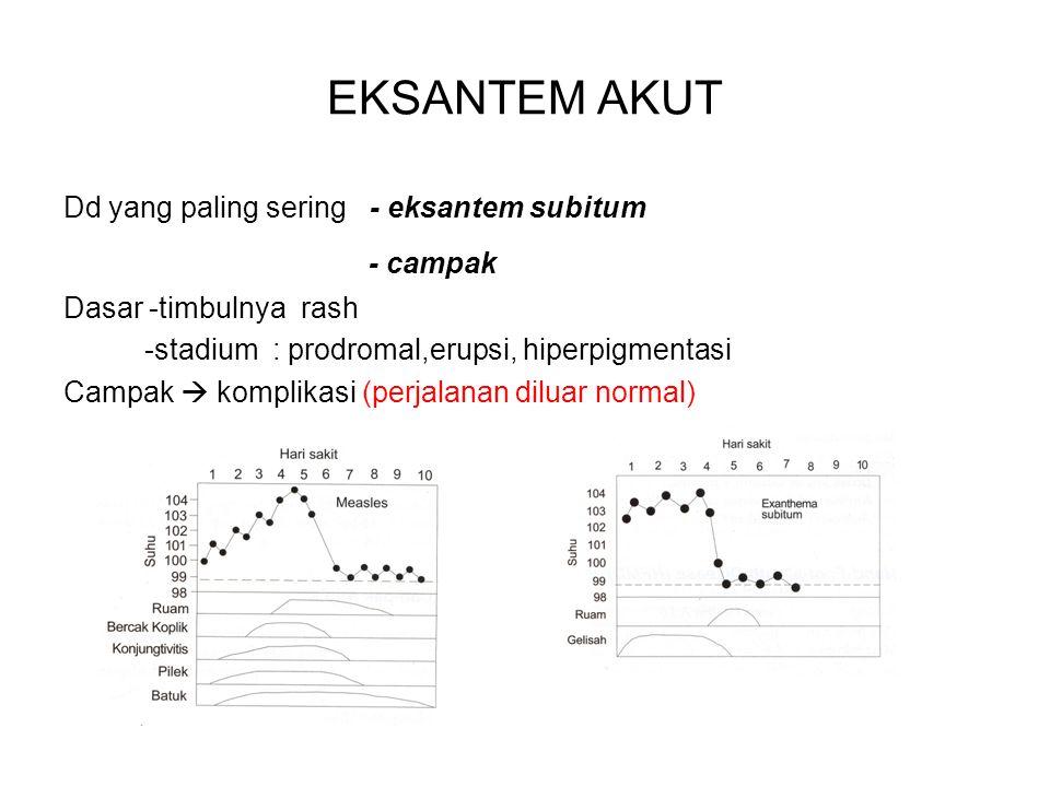 EKSANTEM AKUT Dd yang paling sering - eksantem subitum - campak Dasar -timbulnya rash -stadium : prodromal,erupsi, hiperpigmentasi Campak  komplikasi (perjalanan diluar normal)