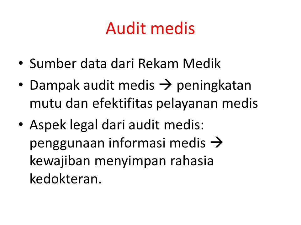 Audit medis Sumber data dari Rekam Medik Dampak audit medis  peningkatan mutu dan efektifitas pelayanan medis Aspek legal dari audit medis: penggunaa