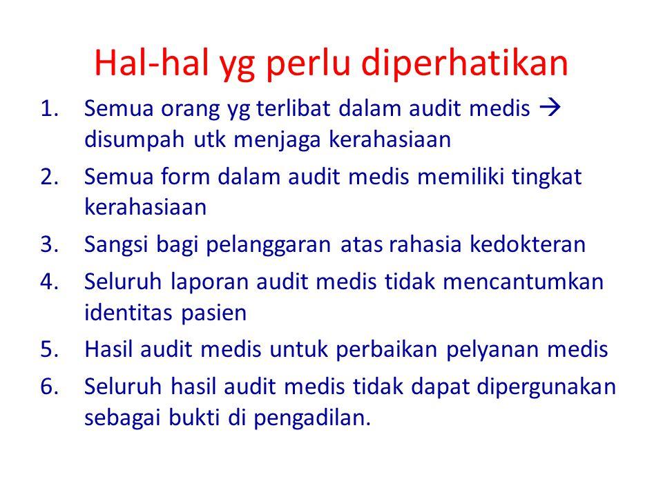 Hal-hal yg perlu diperhatikan 1.Semua orang yg terlibat dalam audit medis  disumpah utk menjaga kerahasiaan 2.Semua form dalam audit medis memiliki t
