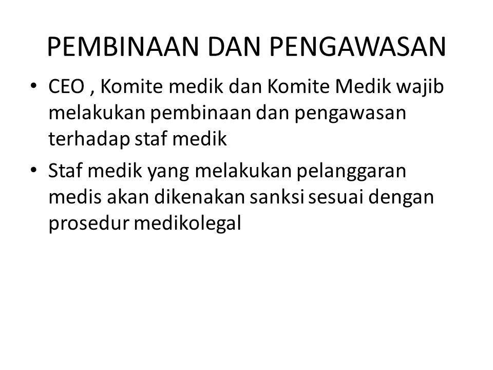 PEMBINAAN DAN PENGAWASAN CEO, Komite medik dan Komite Medik wajib melakukan pembinaan dan pengawasan terhadap staf medik Staf medik yang melakukan pel