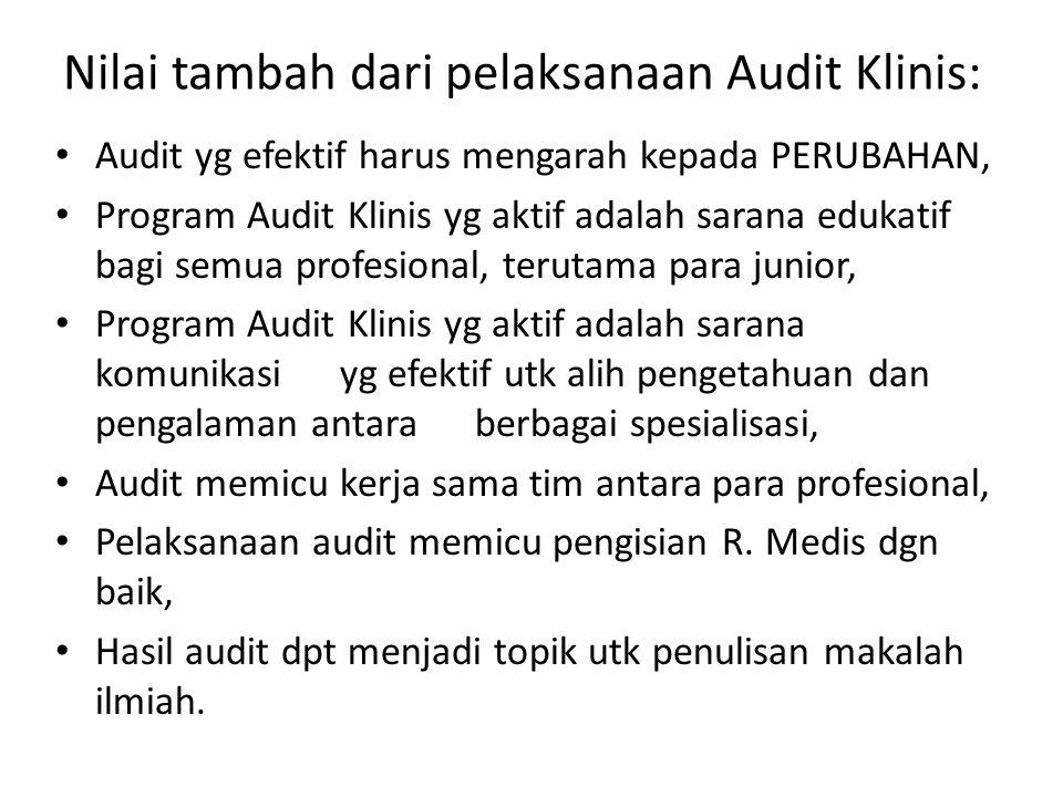 Nilai tambah dari pelaksanaan Audit Klinis: Audit yg efektif harus mengarah kepada PERUBAHAN, Program Audit Klinis yg aktif adalah sarana edukatif bag
