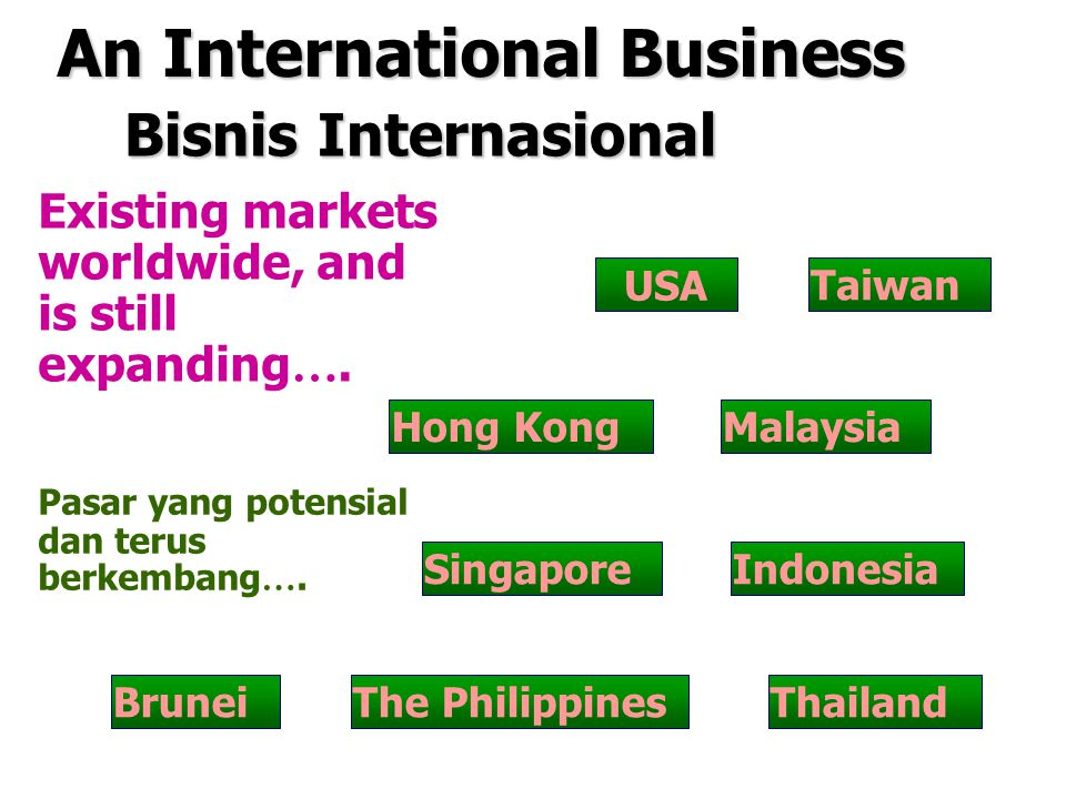 Existing markets worldwide, and is still expanding ….