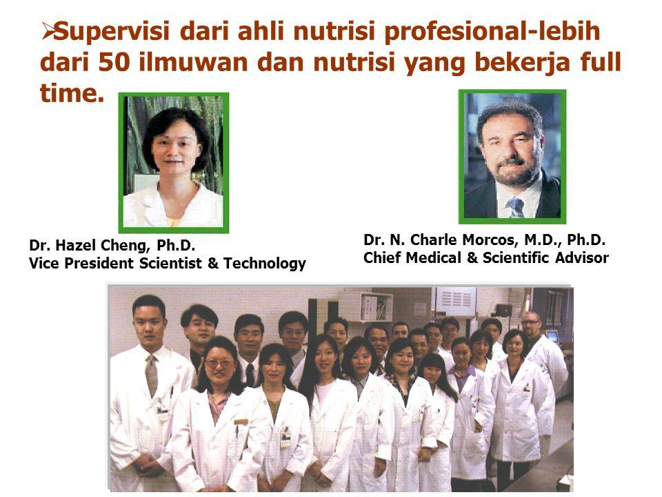 Dr. Hazel Cheng, Ph.D. Vice President Scientist & Technology Dr. N. Charle Morcos, M.D., Ph.D. Chief Medical & Scientific Advisor  Supervisi dari ahl