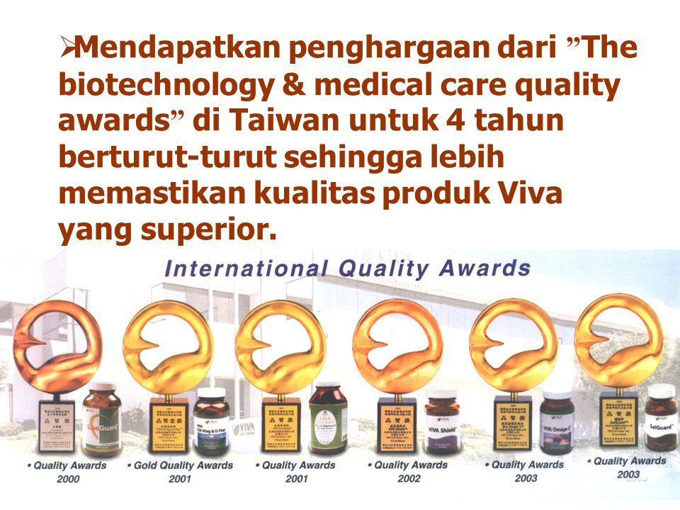 """ Mendapatkan penghargaan dari """" The biotechnology & medical care quality awards """" di Taiwan untuk 4 tahun berturut-turut sehingga lebih memastikan ku"""