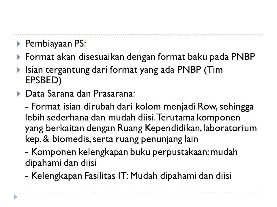  Pembiayaan PS:  Format akan disesuaikan dengan format baku pada PNBP  Isian tergantung dari format yang ada PNBP (Tim EPSBED)  Data Sarana dan Pr