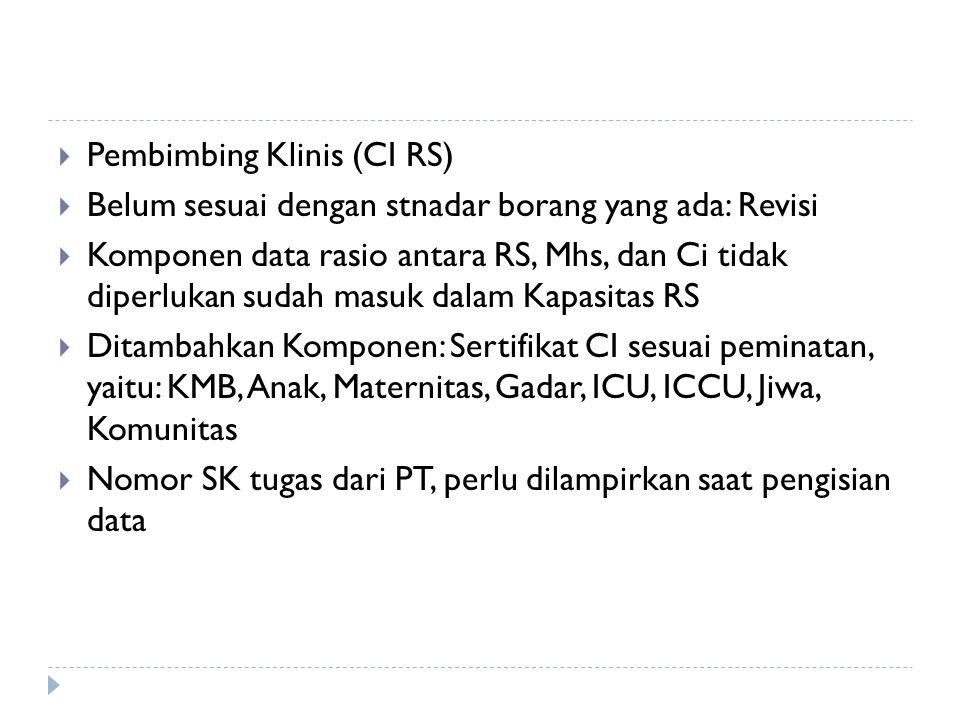  Pembimbing Klinis (CI RS)  Belum sesuai dengan stnadar borang yang ada: Revisi  Komponen data rasio antara RS, Mhs, dan Ci tidak diperlukan sudah