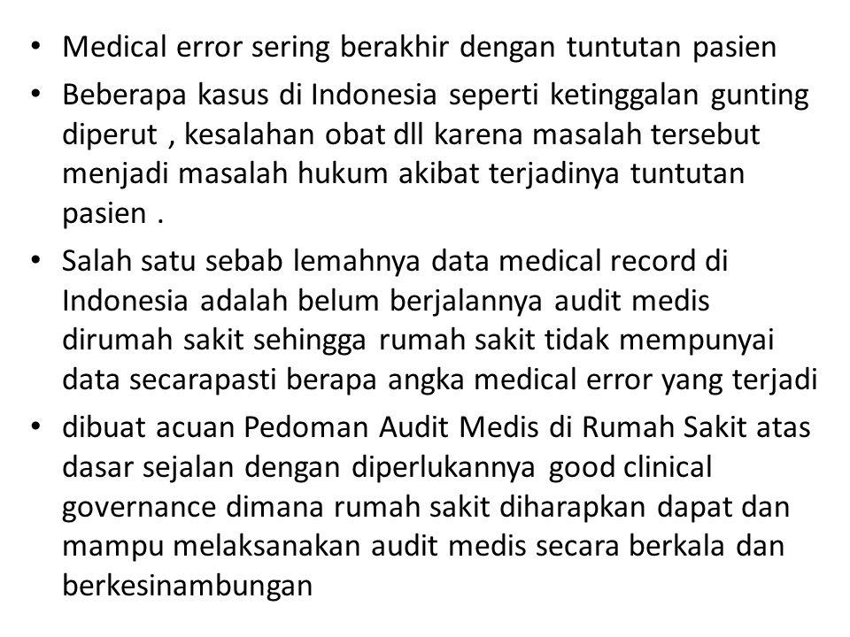 Medical error sering berakhir dengan tuntutan pasien Beberapa kasus di Indonesia seperti ketinggalan gunting diperut, kesalahan obat dll karena masalah tersebut menjadi masalah hukum akibat terjadinya tuntutan pasien.