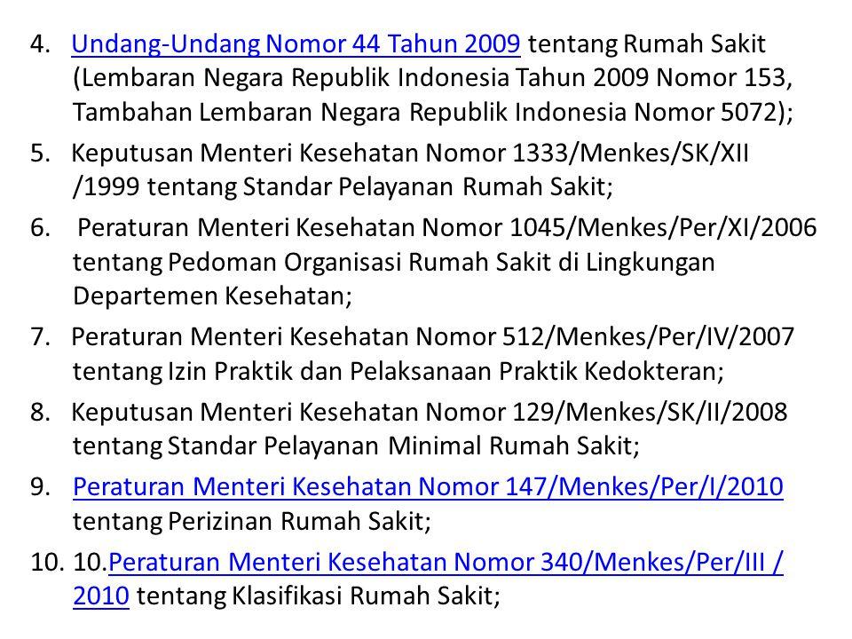 4. Undang-Undang Nomor 44 Tahun 2009 tentang Rumah Sakit (Lembaran Negara Republik Indonesia Tahun 2009 Nomor 153, Tambahan Lembaran Negara Republik I