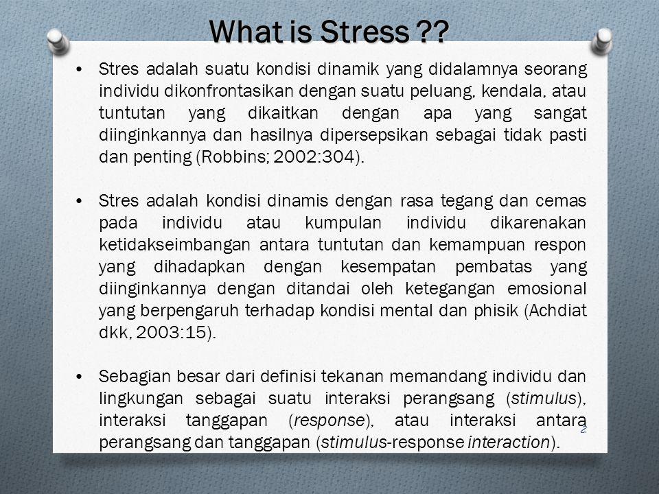 2 Stres adalah suatu kondisi dinamik yang didalamnya seorang individu dikonfrontasikan dengan suatu peluang, kendala, atau tuntutan yang dikaitkan dengan apa yang sangat diinginkannya dan hasilnya dipersepsikan sebagai tidak pasti dan penting (Robbins; 2002:304).