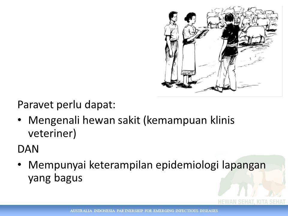 AUSTRALIA INDONESIA PARTNERSHIP FOR EMERGING INFECTIOUS DISEASES Paravet perlu dapat: Mengenali hewan sakit (kemampuan klinis veteriner) DAN Mempunyai