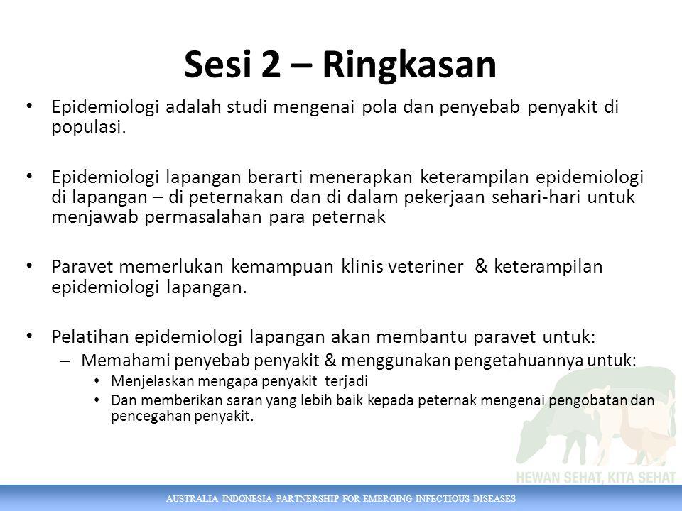 AUSTRALIA INDONESIA PARTNERSHIP FOR EMERGING INFECTIOUS DISEASES Sesi 2 – Ringkasan Epidemiologi adalah studi mengenai pola dan penyebab penyakit di p