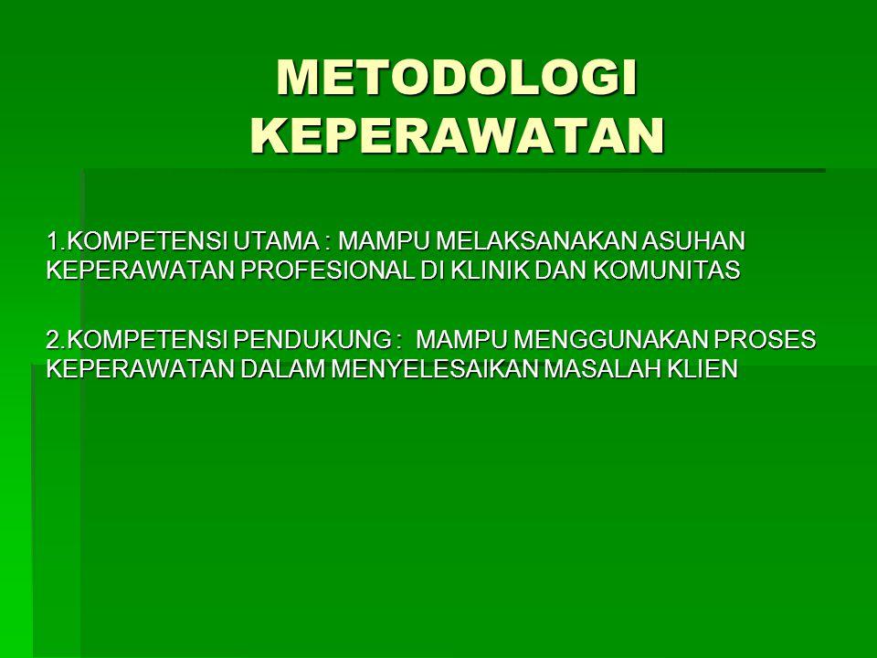 METODOLOGI KEPERAWATAN 1.KOMPETENSI UTAMA : MAMPU MELAKSANAKAN ASUHAN KEPERAWATAN PROFESIONAL DI KLINIK DAN KOMUNITAS 2.KOMPETENSI PENDUKUNG : MAMPU M
