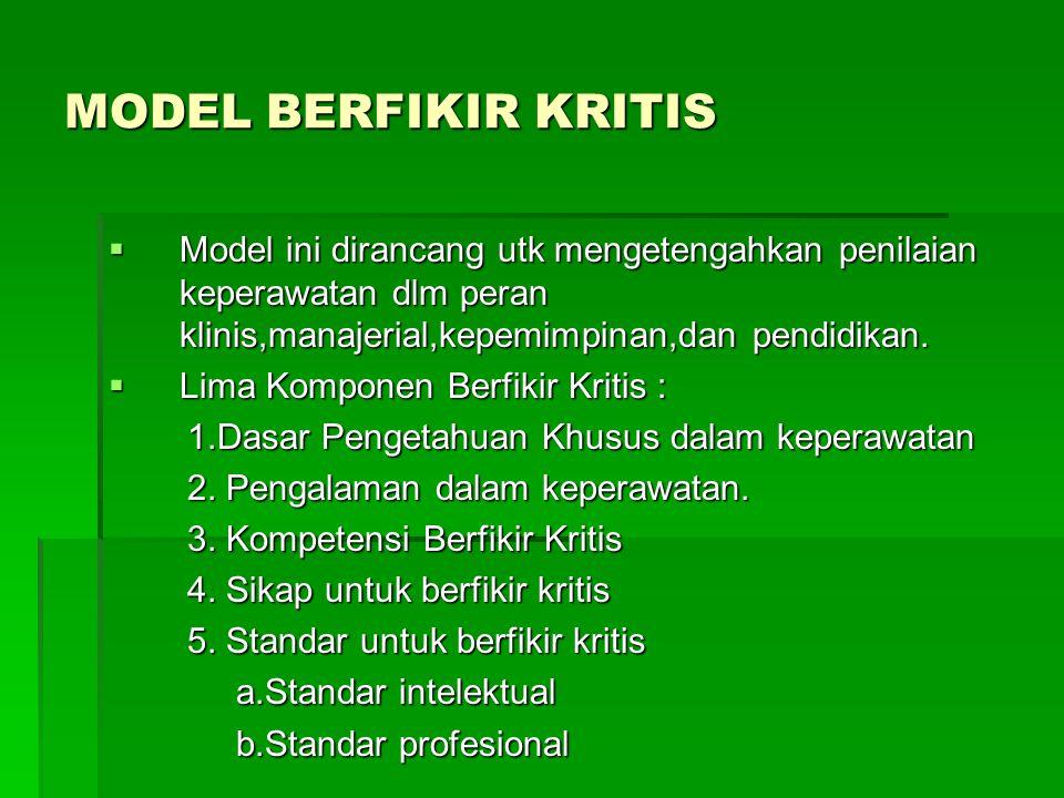 MODEL BERFIKIR KRITIS  Model ini dirancang utk mengetengahkan penilaian keperawatan dlm peran klinis,manajerial,kepemimpinan,dan pendidikan.  Lima K