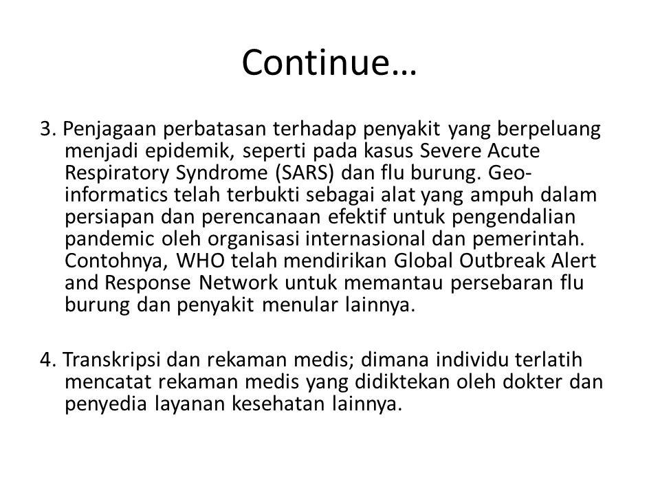 Continue… 3. Penjagaan perbatasan terhadap penyakit yang berpeluang menjadi epidemik, seperti pada kasus Severe Acute Respiratory Syndrome (SARS) dan