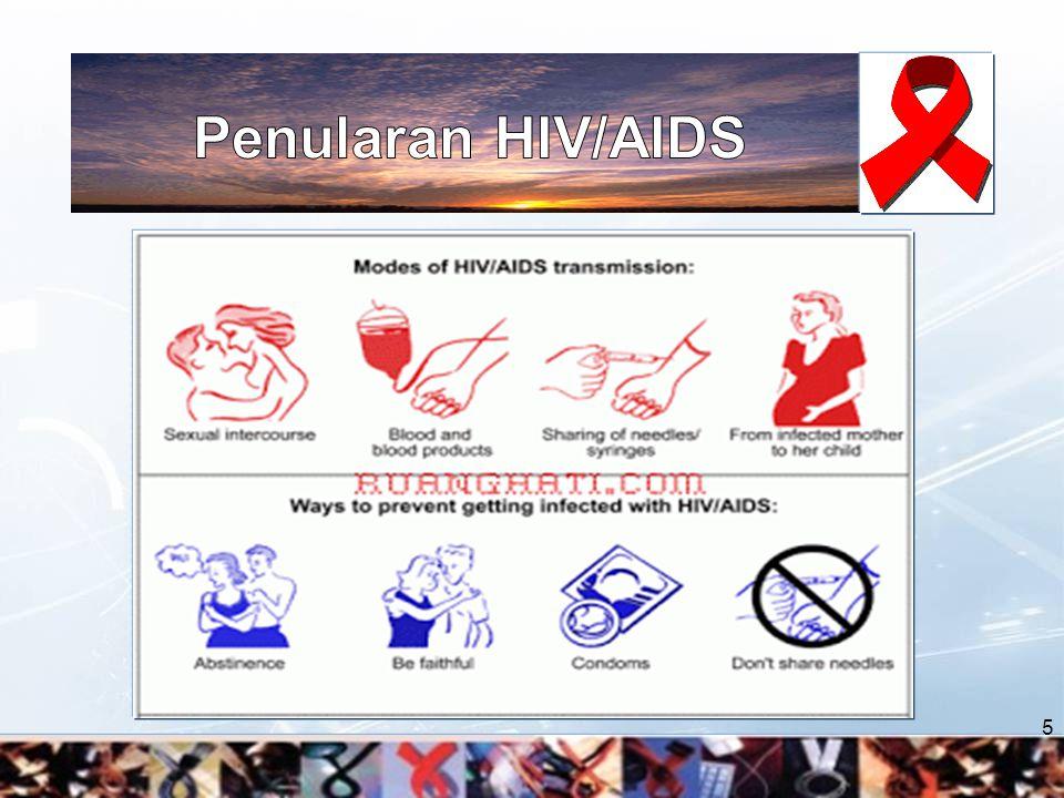 Perilaku non seksual : Penggunaan narkoba Infeksi HIV menggunakan jarum suntik tidak steril.