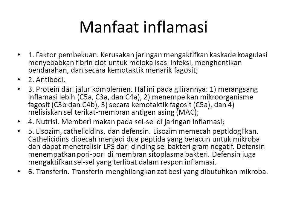 Manfaat inflamasi 1. Faktor pembekuan. Kerusakan jaringan mengaktifkan kaskade koagulasi menyebabkan fibrin clot untuk melokalisasi infeksi, menghenti