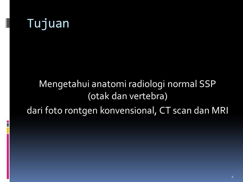 2 Tujuan Mengetahui anatomi radiologi normal SSP (otak dan vertebra) dari foto rontgen konvensional, CT scan dan MRI