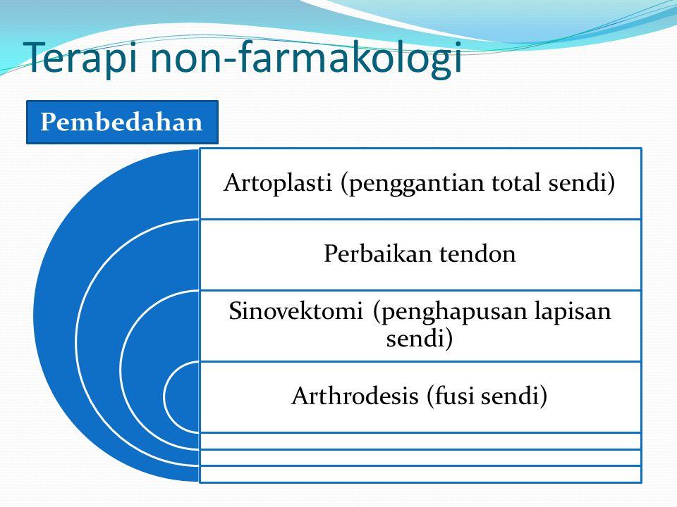 Terapi non-farmakologi Artoplasti (penggantian total sendi) Perbaikan tendon Sinovektomi (penghapusan lapisan sendi) Arthrodesis (fusi sendi) Pembedahan