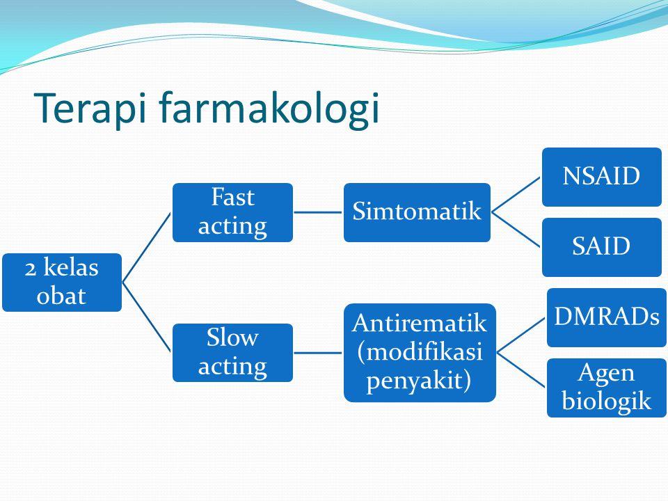 Terapi farmakologi 2 kelas obat Fast acting SimtomatikNSAIDSAID Slow acting Antirematik (modifikasi penyakit) DMRADs Agen biologik