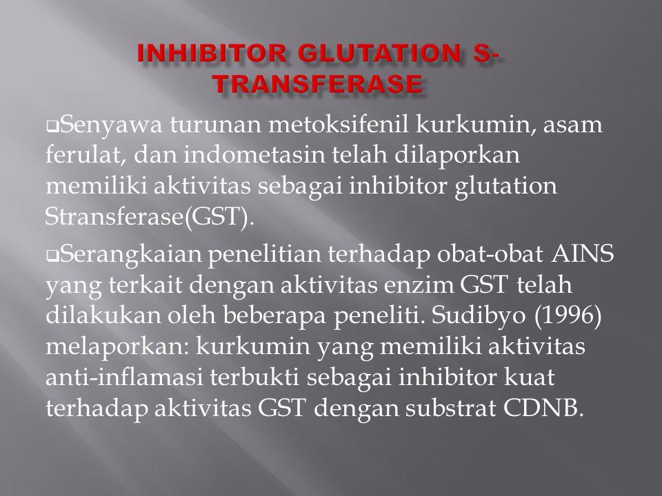  Senyawa turunan metoksifenil kurkumin, asam ferulat, dan indometasin telah dilaporkan memiliki aktivitas sebagai inhibitor glutation Stransferase(GS