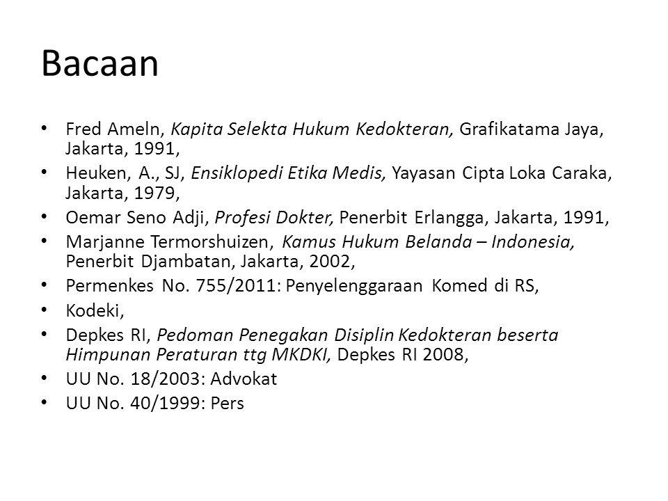 Bacaan Fred Ameln, Kapita Selekta Hukum Kedokteran, Grafikatama Jaya, Jakarta, 1991, Heuken, A., SJ, Ensiklopedi Etika Medis, Yayasan Cipta Loka Carak