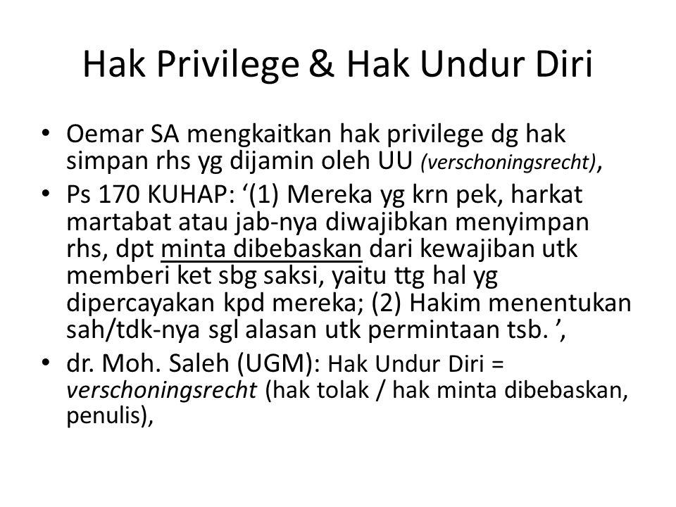 Hak Privilege & Hak Undur Diri Oemar SA mengkaitkan hak privilege dg hak simpan rhs yg dijamin oleh UU (verschoningsrecht), Ps 170 KUHAP: '(1) Mereka