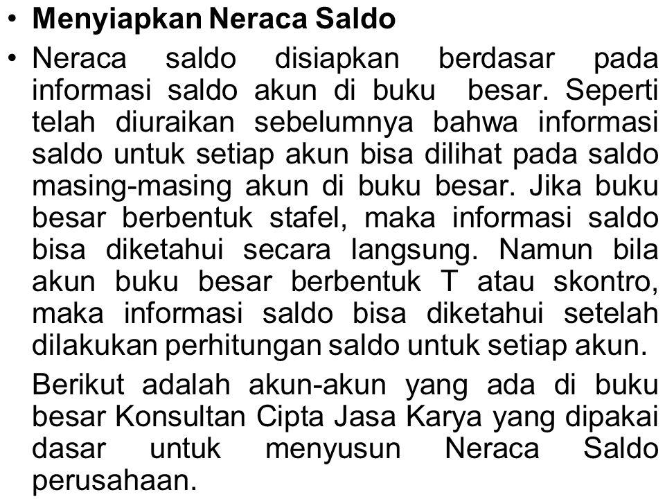 Menyiapkan Neraca Saldo Neraca saldo disiapkan berdasar pada informasi saldo akun di buku besar. Seperti telah diuraikan sebelumnya bahwa informasi sa