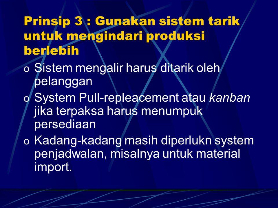 o Sistem mengalir harus ditarik oleh pelanggan o System Pull-repleacement atau kanban jika terpaksa harus menumpuk persediaan o Kadang-kadang masih di