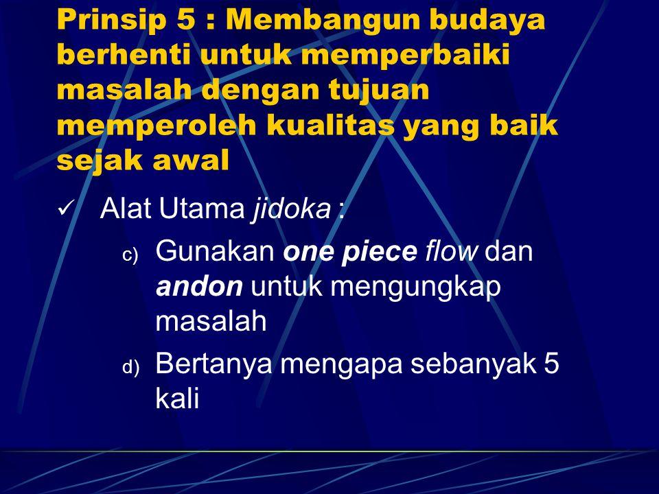 Alat Utama jidoka : c) Gunakan one piece flow dan andon untuk mengungkap masalah d) Bertanya mengapa sebanyak 5 kali Prinsip 5 : Membangun budaya berh
