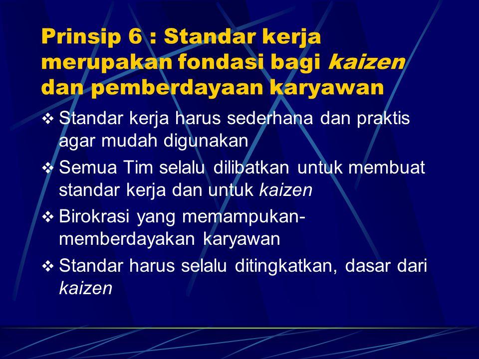  Standar kerja harus sederhana dan praktis agar mudah digunakan  Semua Tim selalu dilibatkan untuk membuat standar kerja dan untuk kaizen  Birokras