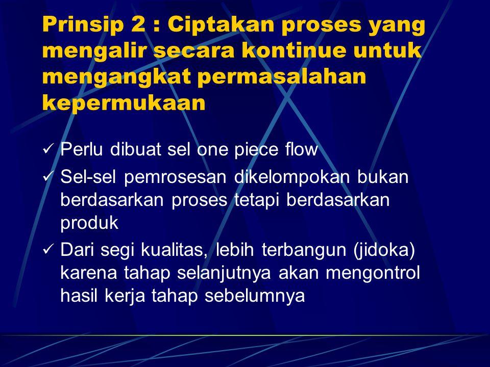 Perlu dibuat sel one piece flow Sel-sel pemrosesan dikelompokan bukan berdasarkan proses tetapi berdasarkan produk Dari segi kualitas, lebih terbangun