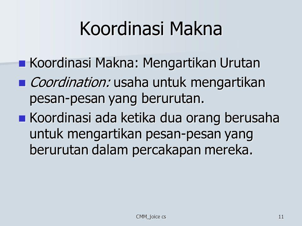 CMM_joice cs11 Koordinasi Makna Koordinasi Makna: Mengartikan Urutan Koordinasi Makna: Mengartikan Urutan Coordination: usaha untuk mengartikan pesan-
