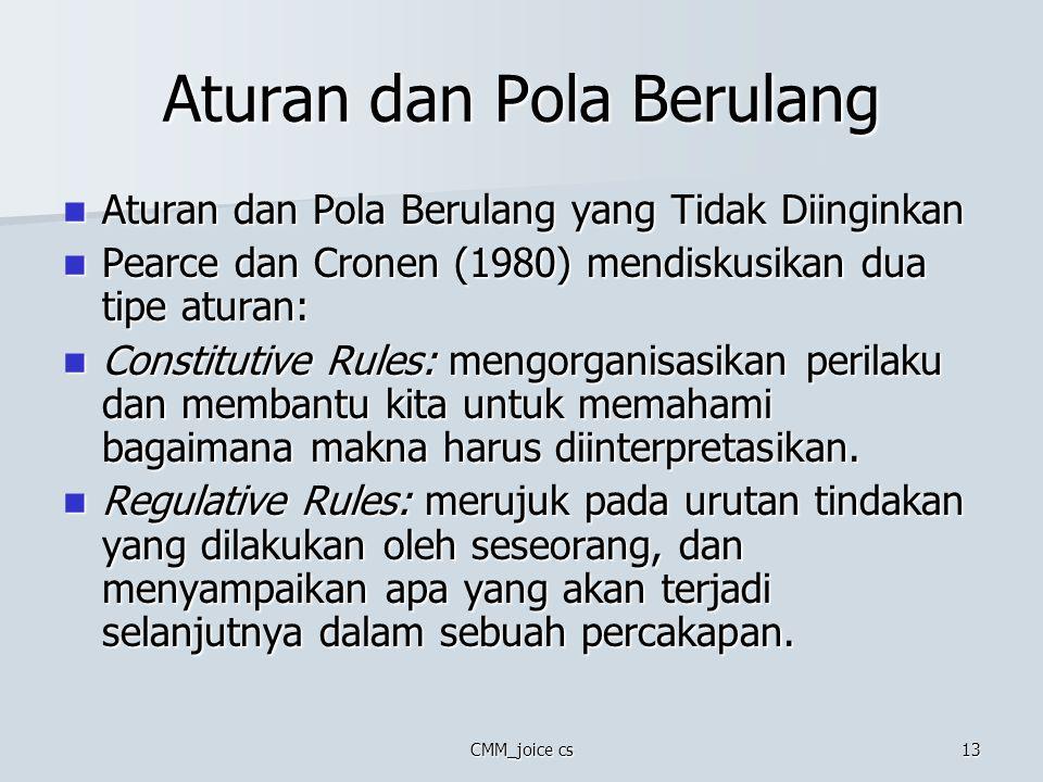 CMM_joice cs13 Aturan dan Pola Berulang Aturan dan Pola Berulang yang Tidak Diinginkan Aturan dan Pola Berulang yang Tidak Diinginkan Pearce dan Crone