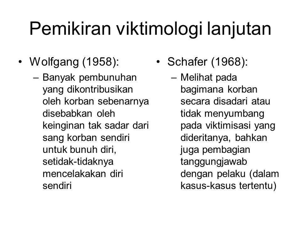 Teori-teori viktimologi kontemporer 1.Situated Transaction Model (Luckenbill, 1977): dalam hubungan interpersonal, kejahatan dan viktimisasi pada dasarnya adalah kontes karakter yang tereskalasi; mulanya adalah konflik mulut yang meningkat menjadi konflik fisik yang vatal 2.Threefold Model (Benjamin & Master): kondisi yang mendukung kejahatan terbagi 3 kategori: precipitating factors, attracting factors, predisposing (atau socio- demographic) factors 3.Routine Activities Theory (Cohen & Felson, 1979): Kejahatan dapat terjadi ketika terdapat tiga kondisi sekaligus yakni : target yang tepat, pelaku yang termovitasi dan ketiadaan pengamanan