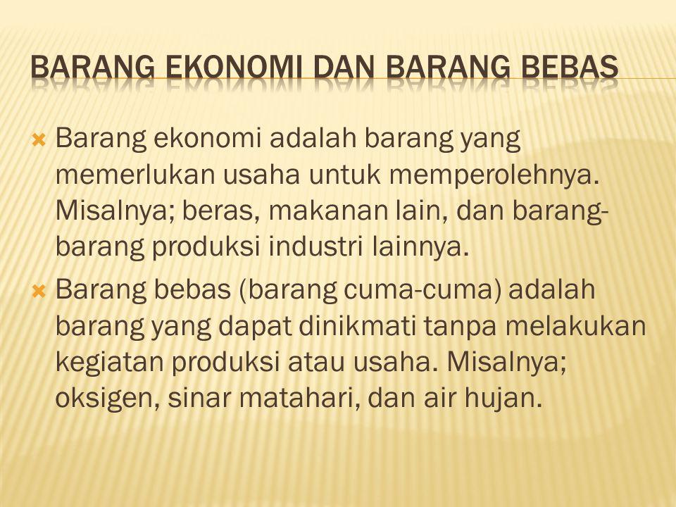  Barang ekonomi adalah barang yang memerlukan usaha untuk memperolehnya.