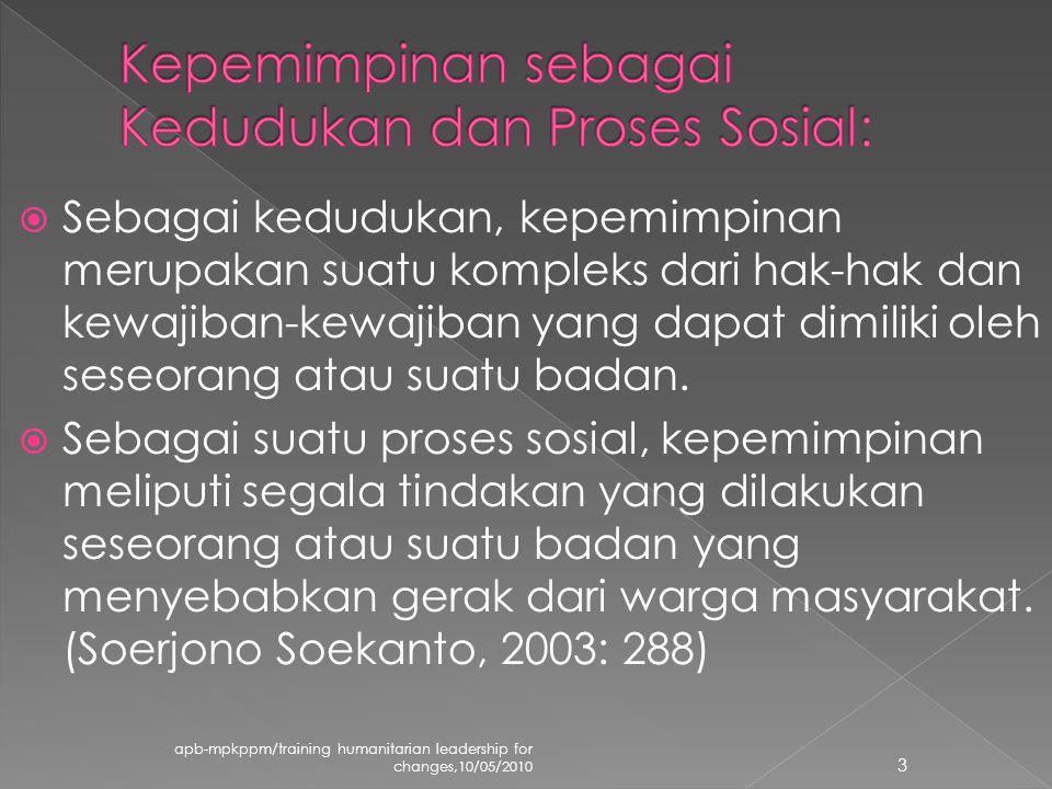  Sebagai kedudukan, kepemimpinan merupakan suatu kompleks dari hak-hak dan kewajiban-kewajiban yang dapat dimiliki oleh seseorang atau suatu badan.