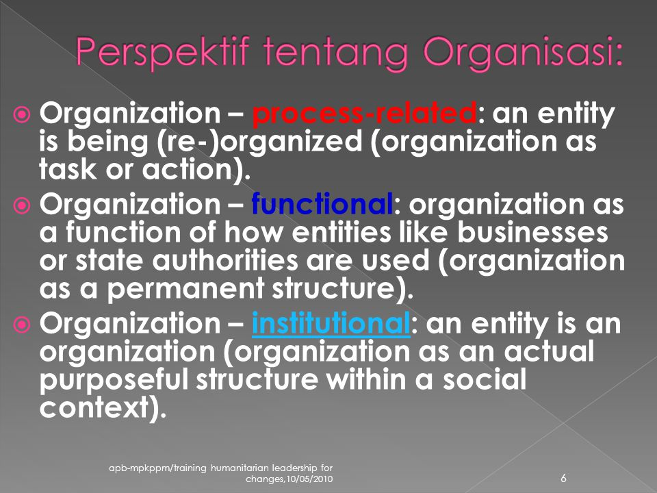  Organization – process-related: an entity is being (re-)organized (organization as task or action).