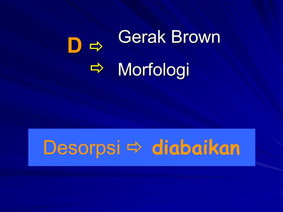 Desorpsi  diabaikan Morfologi D   Gerak Brown