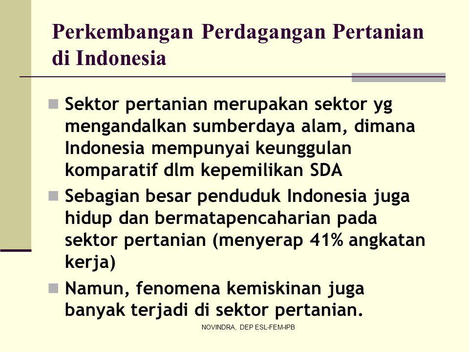 NOVINDRA, DEP ESL-FEM-IPB Perkembangan Perdagangan Pertanian di Indonesia Sektor pertanian merupakan sektor yg mengandalkan sumberdaya alam, dimana Indonesia mempunyai keunggulan komparatif dlm kepemilikan SDA Sebagian besar penduduk Indonesia juga hidup dan bermatapencaharian pada sektor pertanian (menyerap 41% angkatan kerja) Namun, fenomena kemiskinan juga banyak terjadi di sektor pertanian.