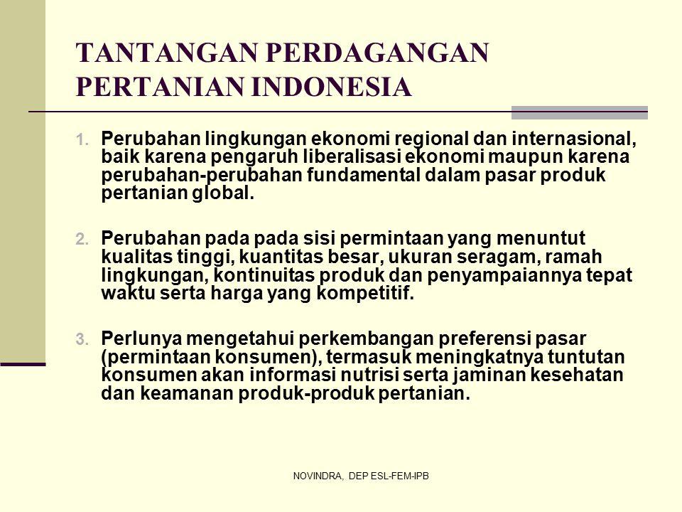NOVINDRA, DEP ESL-FEM-IPB TANTANGAN PERDAGANGAN PERTANIAN INDONESIA 1.