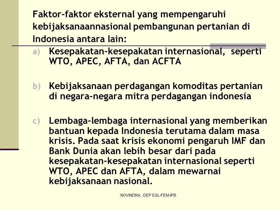 NOVINDRA, DEP ESL-FEM-IPB Faktor-faktor eksternal yang mempengaruhi kebijaksanaannasional pembangunan pertanian di Indonesia antara lain: a) Kesepakatan-kesepakatan internasional, seperti WTO, APEC, AFTA, dan ACFTA b) Kebijaksanaan perdagangan komoditas pertanian di negara-negara mitra perdagangan indonesia c) Lembaga-lembaga internasional yang memberikan bantuan kepada Indonesia terutama dalam masa krisis.